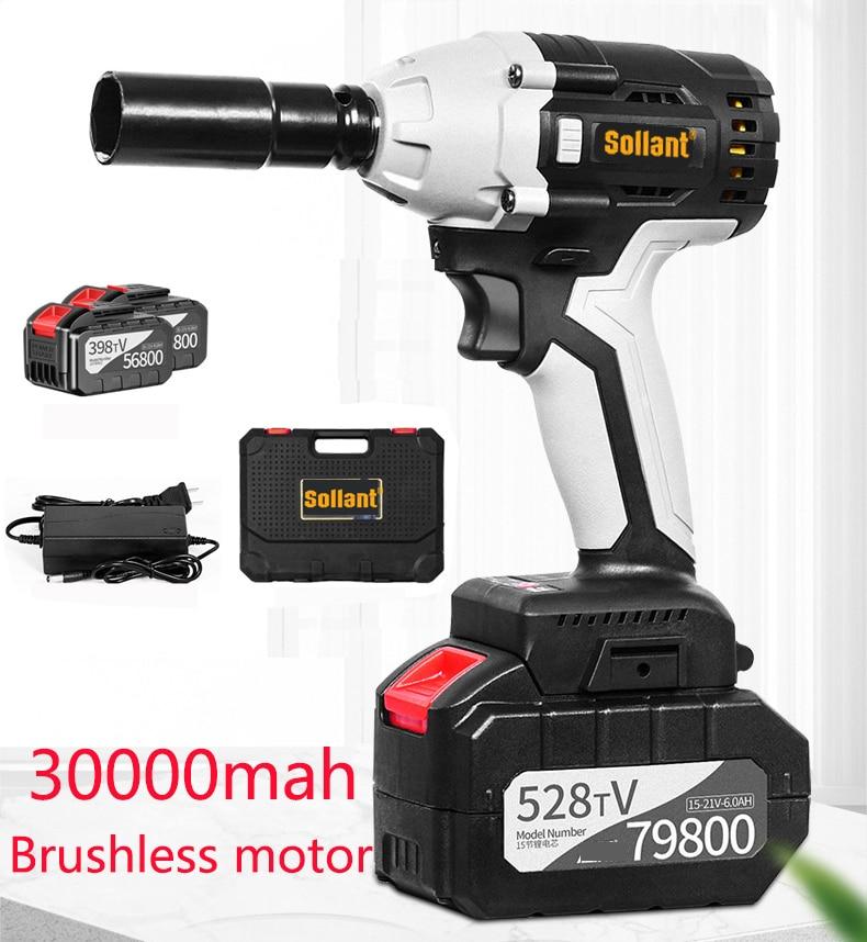 Sollant chave elétrica de impacto 30000mah cordada 1/2-Polegada, 680n. m torque máximo, velocidade de 3800rpm, interruptor de balanço de duas direções