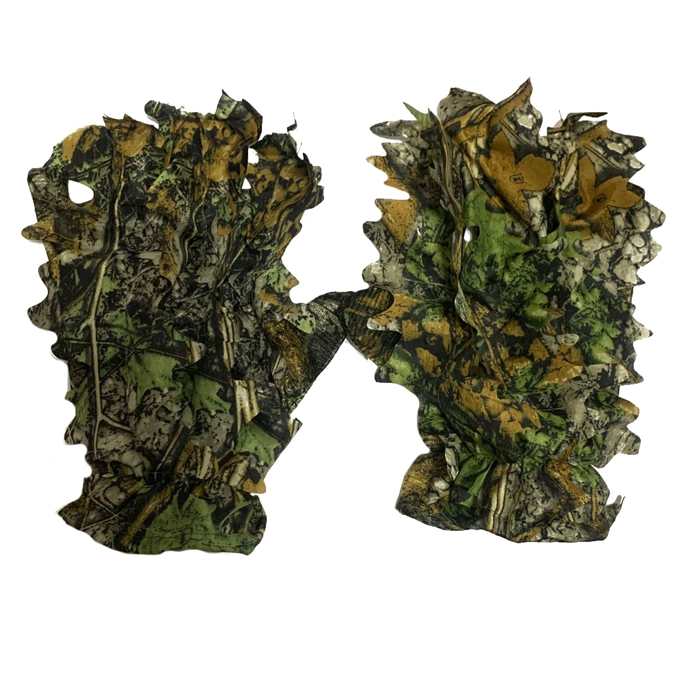 Sneaky 3D Camo Gloves Camouflage Full Finger Comfortable Non-slip Tactical Shooting Durable 3D Leaf Gloves Outdoor Incredible