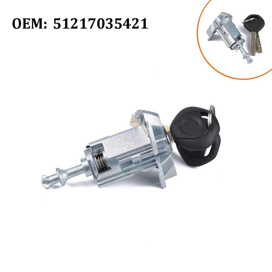 Reemplazo de cilindro de cerradura de puerta delantera izquierda de coche 51217035421 con 2 llaves para X3 X5 2000-2006
