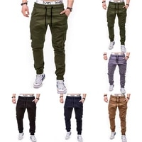mens casual pants 2021 spring and autumn new mens fashion solid color side pockets lace up casual leggings trousers