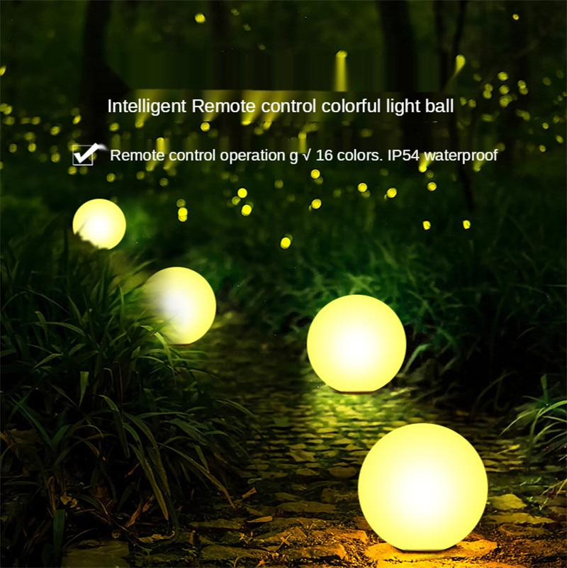 Outdoor Garden Glowing Ball Light Remote Lawn Lamps Patio Landscape Pathway LED Illuminated Holiday Lighting Colorful Charging