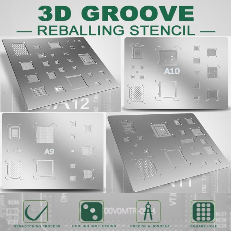 MELHOR 3D BGA aço líquido A8 A9 A10 A11 A12 para iphone 6 6P 7 8 8P X XR Diretamente aquecida do telefone móvel IC BGA Reballing Stencil