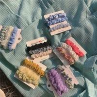 floral small intestine hair ring spring summer new hair rope korean version sweet fabric hair tie geometric hair accessories new