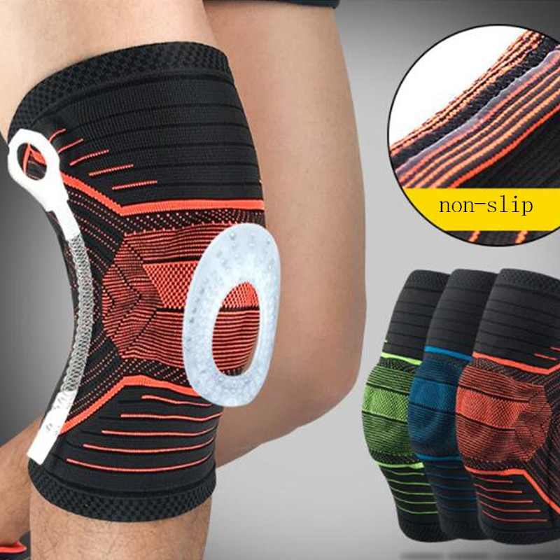 3D Weaving Silicone Knee Pads Supports Brace Volleyball Basketball Meniscus Patella Protectors Sports Safety Kneepads недорого