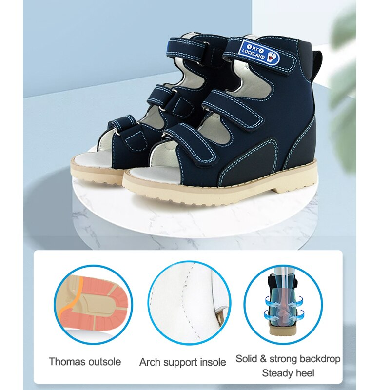 Kids Leather Sandals Boys Orthopedic Health Walking Shoes For Children Babies Elegant Dark Blue Arch Support Bootie enlarge