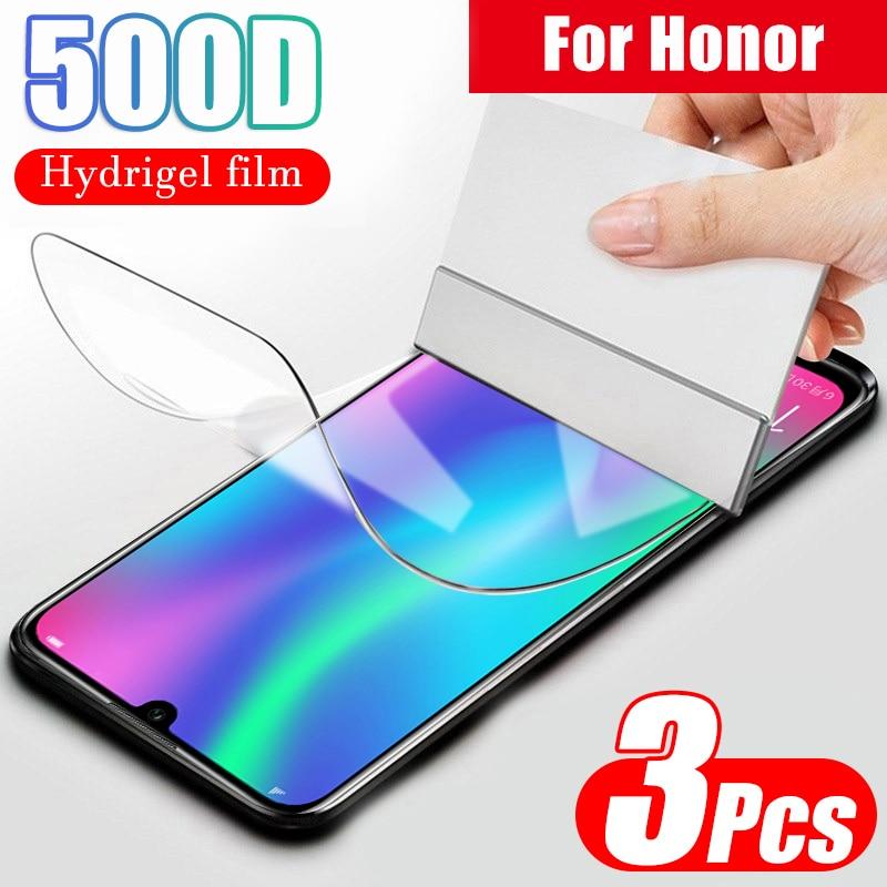 500d película protetora de hidrogel para huawei honor 8x8 9 10 lite 10i 20 pro 7a 7c pro filme protetor de tela cobertura completa sem vidro