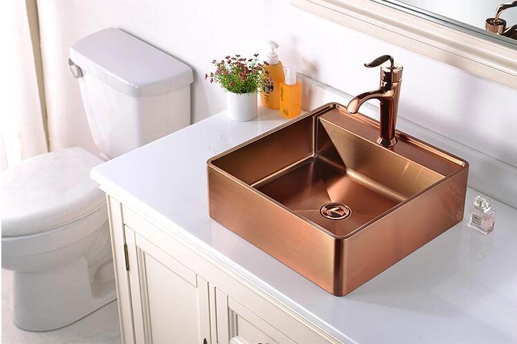 Fregadero de lujo de oro rosa de calidad superior fregadero de acero inoxidable 304 lavabo de baño lavabo lavadero hecho a mano lavabo