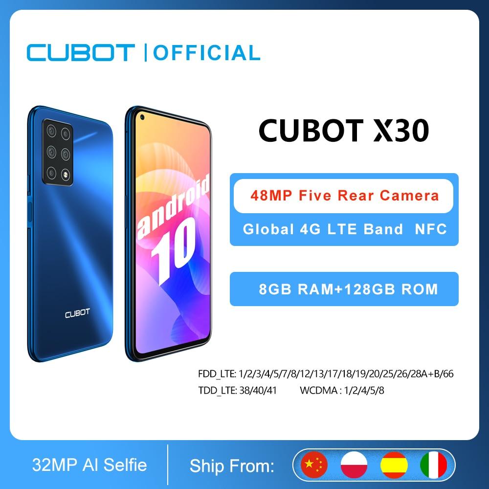 Перейти на Алиэкспресс и купить Cubot X30 смартфон 5 камер 48MP пять камер 32MP Фронтальная камера 8 ГБ 128 ГБ NFC 6,4 дюймFHD + Google Android 10 Глобальная Версия WIFI 2,4G/5G мобильные телефоны 4200 мАч Бол...