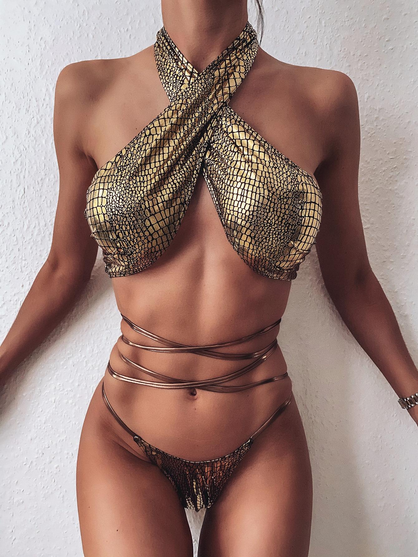 Hirigin Sexy bandoulière bandeau femmes Bikini 2020 nouveau rembourré paillettes été maillot de bain string maillots de bain plage maillot de bain