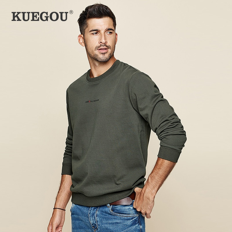 KUEGOU 100%Cotton men's hoodies fashion autumn pure color printed letters tide male sweatshirts top plus size  color MW-2239