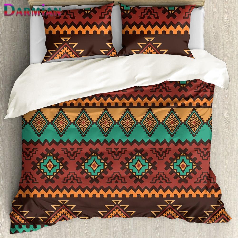 DARMIAN 3 قطعة/المجموعة المنزل Texile رمي المخدة و حاف غطاء خمر الأفريقي القبلية طباعة لينة لحاف اكسسوارات ديكور غرفة نوم