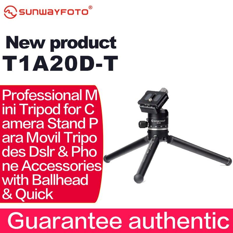 Sunwayfoto T1A20D-T profissional mini tripé para suporte de câmera para mobil tripodes dslr & acessórios do telefone com ballhead & rápido