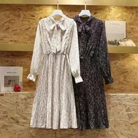 spring autumn black beige ruffle button up dresses women casual plus size 4xl pleated long sleeved floral dress women