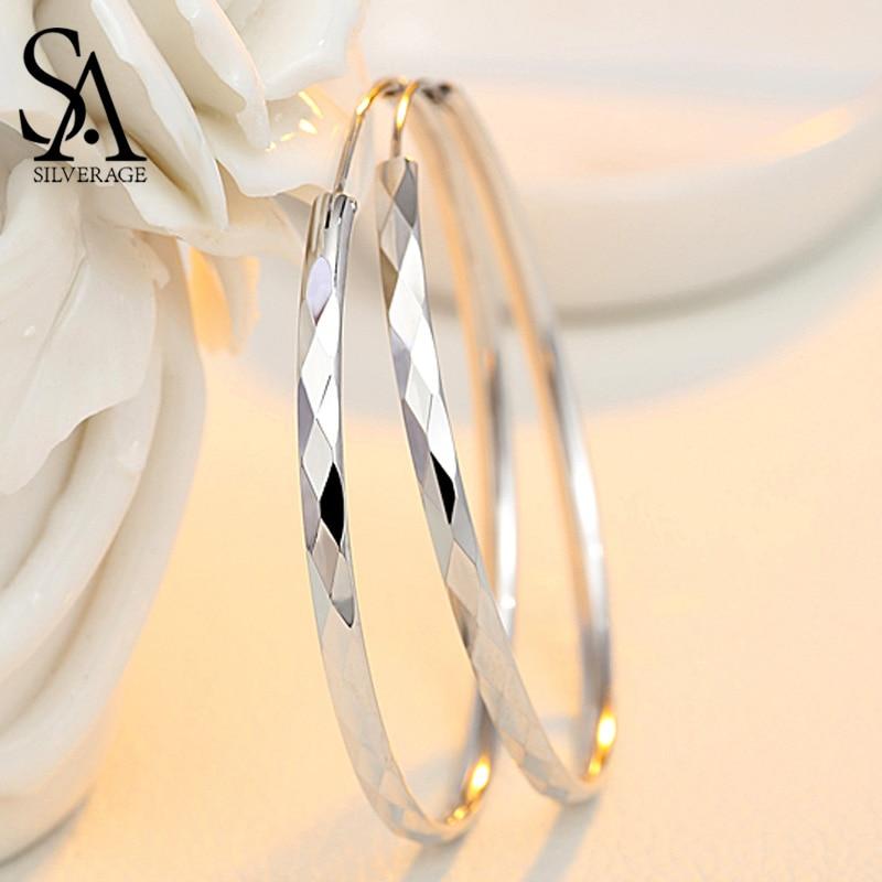 AliExpress - SA SILVERAGE 60mm 55mm 50mm 45mm 40mm Silver 925 Huggie Earrings Silver Fine Jewelry Hoop Earrings Women Silver Long Earrings