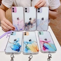 watercolor chain necklace lanyard strap cord rope case for iphone 12 11 pro max x xr xs mini 8 7 plus clear cover coque funda