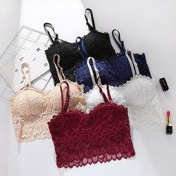 Linbaiway sutiã de renda para mulher lingerie sem costura transparente culturas topos push up bralette feminino dormir sutiã