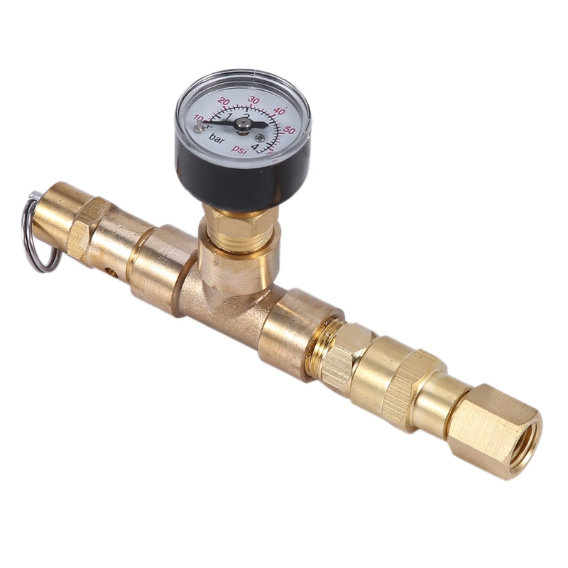 الكرة مقفلة صمام تنفيس مع قياس الضغط قابل للتعديل ضغط صمام تنفيس برميل جعة الضغط 0-60 Psi (0-4 بار) البيرة Br