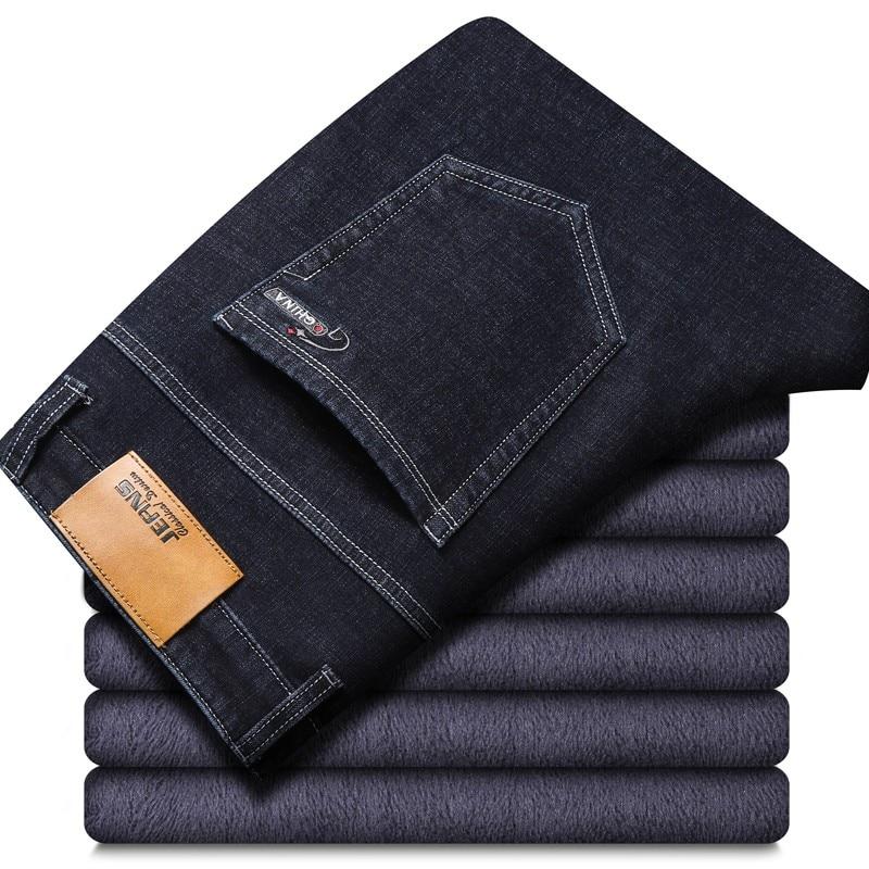 Новинка 2021, мужские теплые джинсы высокого качества от известного бренда, осенне-зимние хлопковые джинсы, теплые флокированные мягкие мужс...