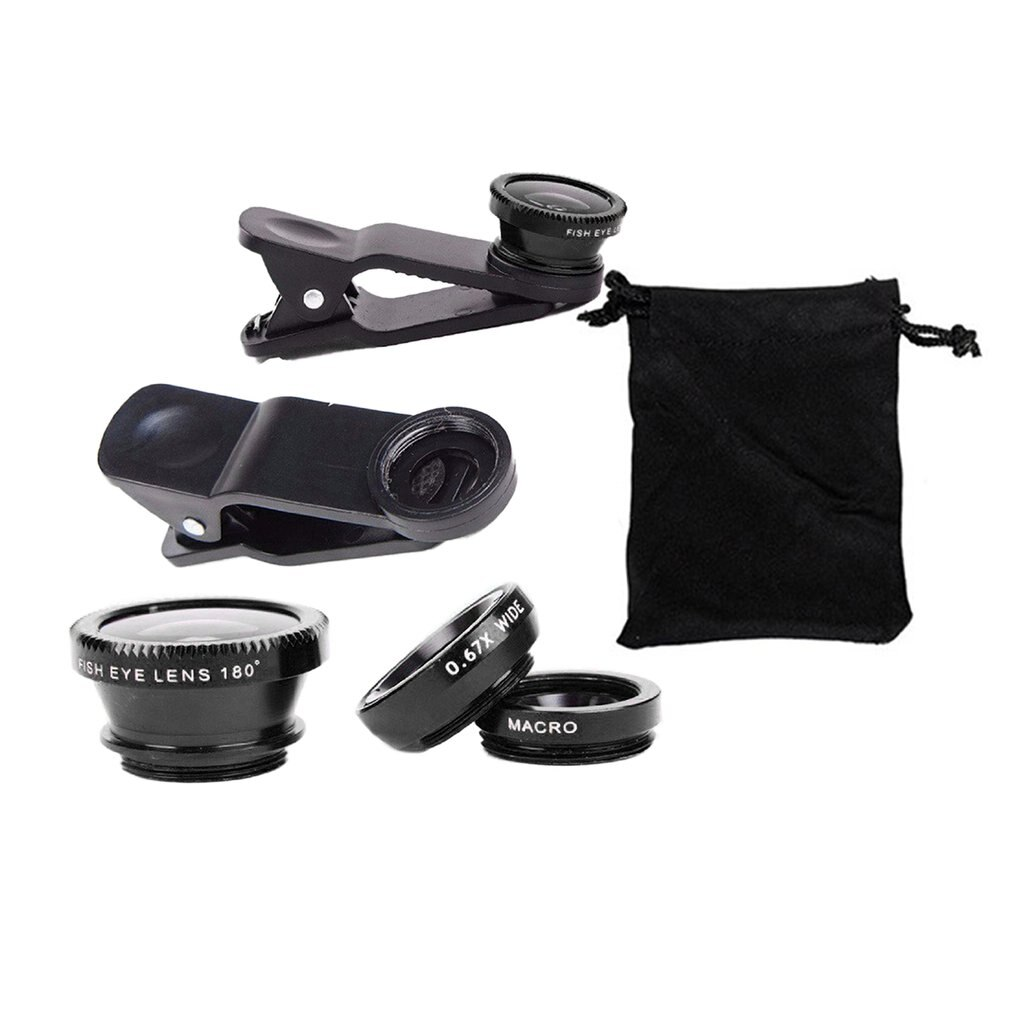 3-in-1 Wide Angle Macro Fisheye Lens Camera Kits Mobile Phone Fish Eye Lenses with Clip 0.65x for Al