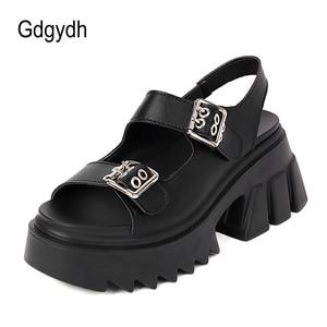Gdgydh Summer Female Gothic Sandals Thick Soled Open Toe Belt Buckle Womens Hidden Heel Sneaker Sandals Platform Wedge Hot INS
