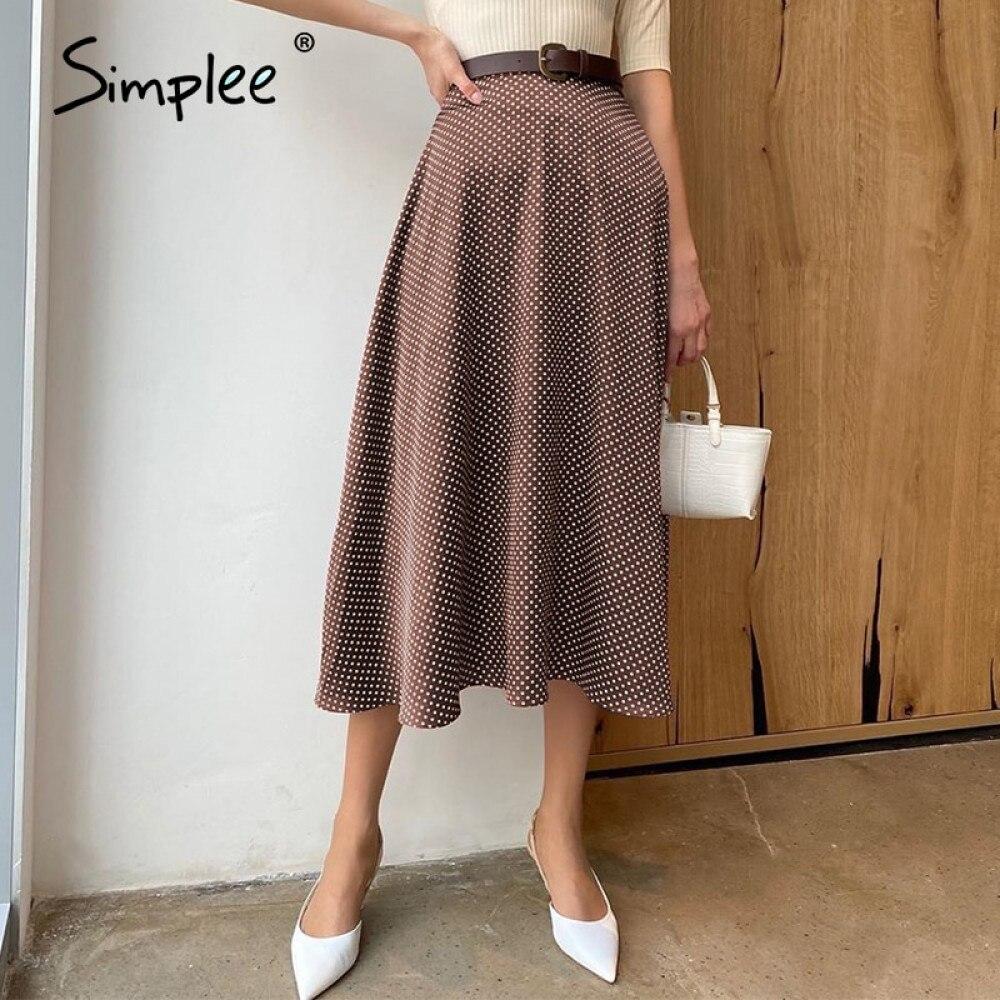 Simplee Осенняя свободная трапециевидная юбка миди с высокой талией в горошек для отдыха женская нижняя юбка винтажные коричневые женские офи...