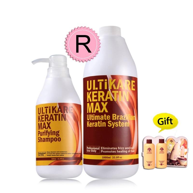 500ml Purifying Shampoo+1000ml 12% Formalin Brazilian Keratin Treatment Straighten Resistant Frizzy Hair Set Free Shipping