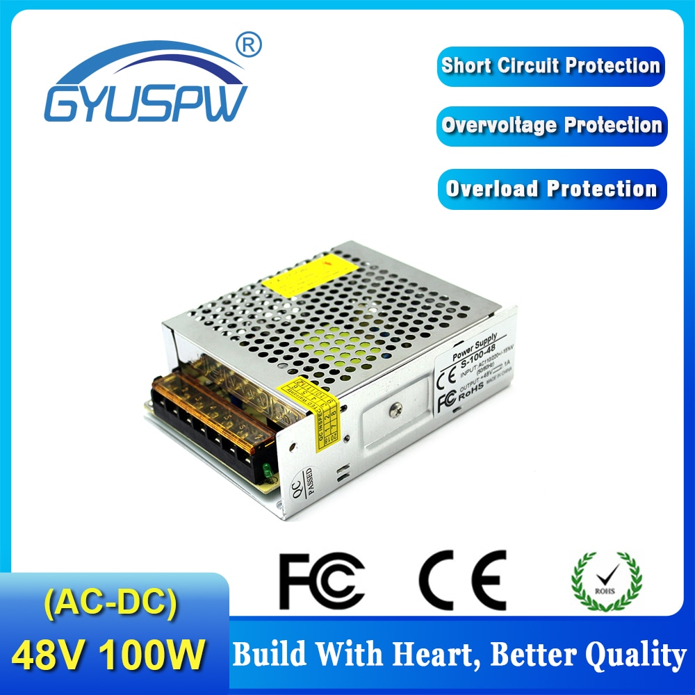 Fuente de alimentación conmutada de 48V de salida única para tira LED, CNC, impresión 3D de 48V, 2,1 a, 100W, controlador led, entrada de AC100-240V a DC48V SMPS