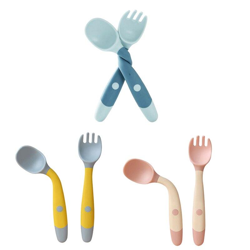 Детская ложка с вилкой, Набор детских принадлежностей, Сгибаемая силиконовая ложка для Детское питание малыша, безопасная посуда с датчико...