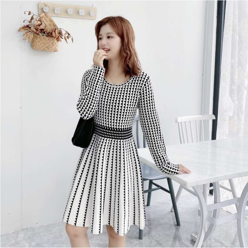 New Autumn Winter Women Knitted Dress o-neck Sweater Dresses Lady Slim Long Sleeve Dress woman sweaters dress