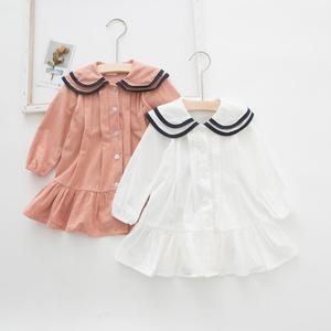 Girls Dresses 2021 Autumn New Double-layer Doll Collar Cotton Long-sleeved Soild Color White Pink Princess Dress Kids Clothing