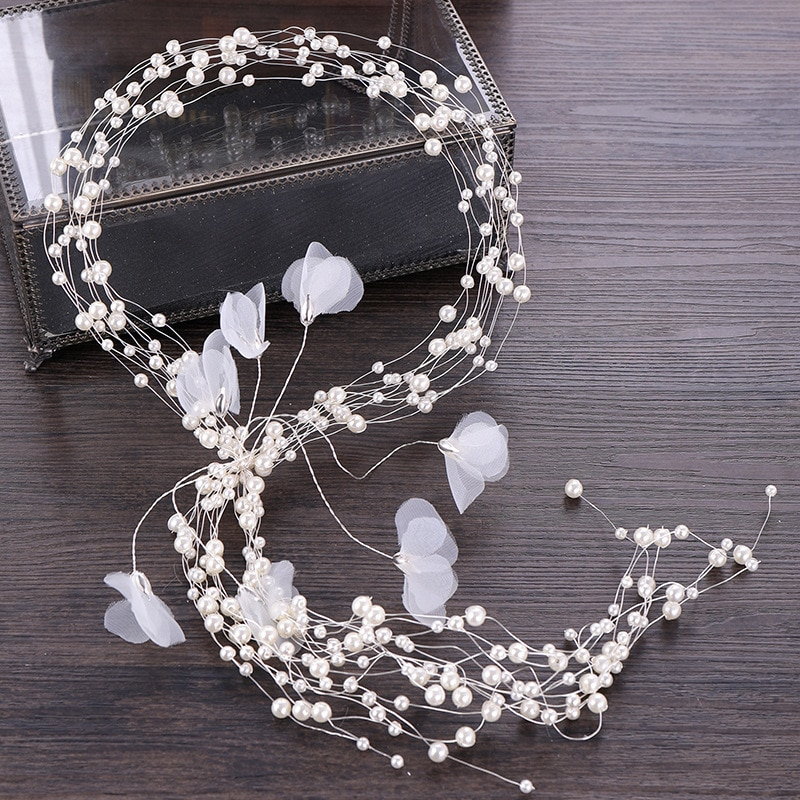 2019 venda nova chegada noiva coroa de noiva faixa de cabelo popular pérola headdress flor acessórios de casamento tiara diadem jóias