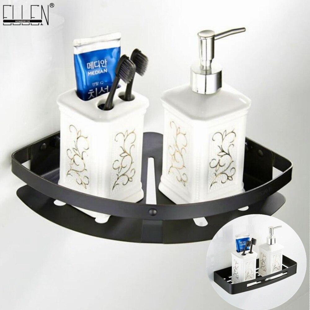 Vidric-رف زاوية للحمام ، رف حمام مزدوج المستوى ، لون أسود ، ELK1006