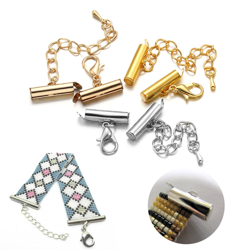 AliExpress - 10Set/pack 10-40mm Crimp End Caps Slide Tube Clasp With Lobster Clasp Extending Chain End Bead Connectors For DIY Jewelry Making