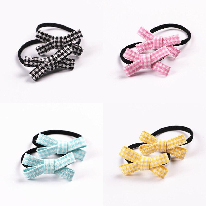 2 PCS  New Small Bowknot Princess Headwear Kids Elastic Hair Bands Girls Hair Accessories Baby Headdress Children Hair Ropes