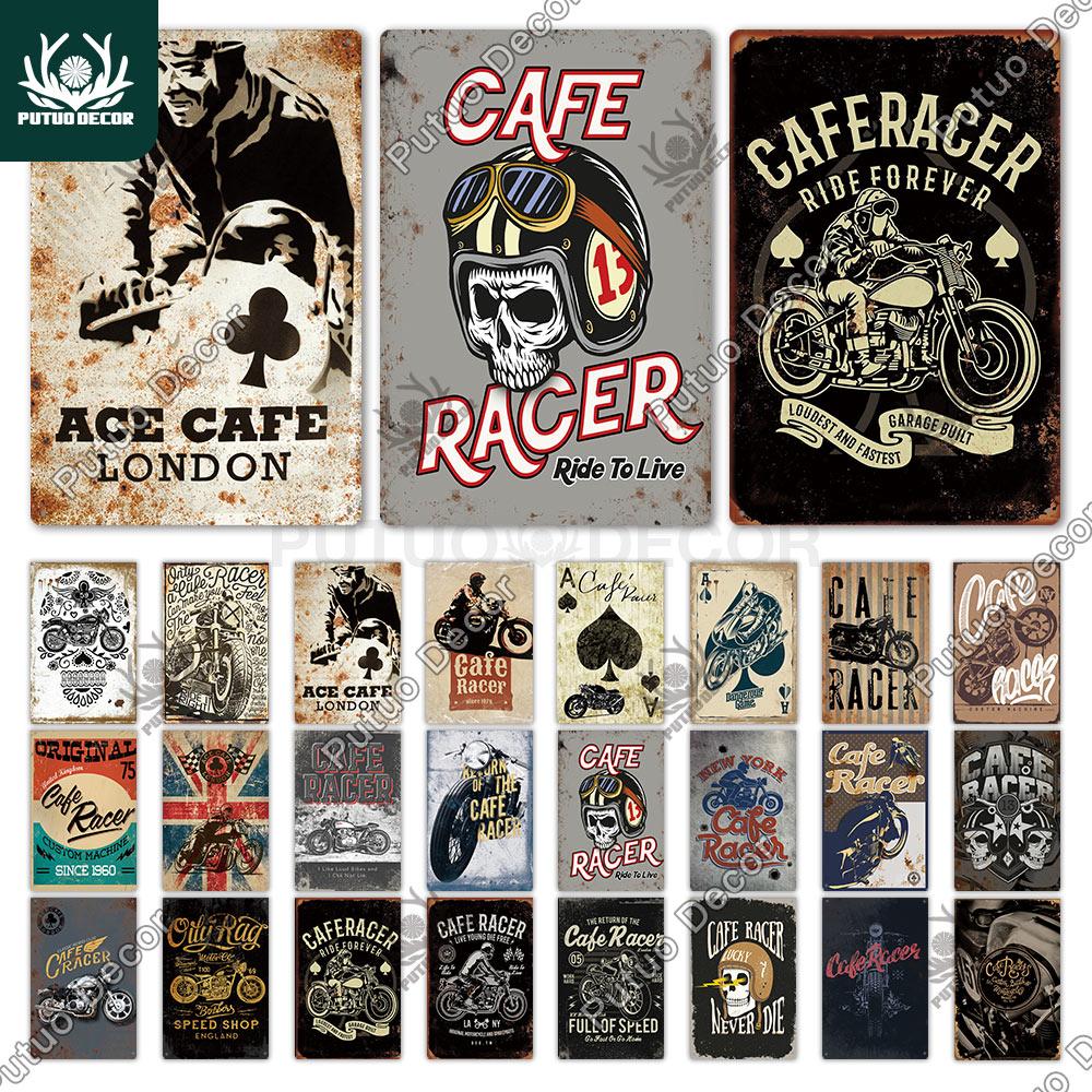 Putuo decoración Cafe Racer cartel de hojalata Vintage signo de Metal decorativo placa decoración de la pared de garaje hombre cueva Bar Pub Decoración