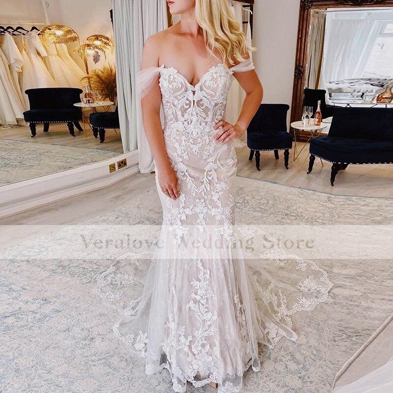 Get Fashion Off Shoulder Mermaid Wedding Dresses 2022 Appliques Lace Tulle Wedding Bridal Gowns Vestidos De novia