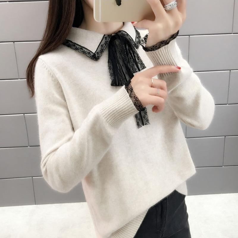 Lucyever Mode Gestrickte Pullover Frauen Lange Hülse Drehen-unten Kragen Pullover Damen 2019 Winter Frau Pullover Stricken Pullover