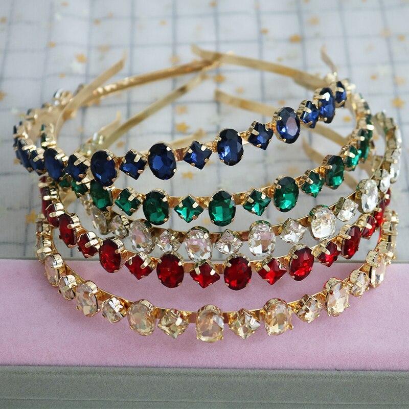 Nueva diadema barroca de lujo Multicolor con cristales, tocado de Metal Vintage, accesorios de boda