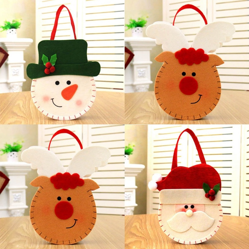 Christmas Decoration Gift Bag Candy Bag Children's Holiday Supplies Creative Cartoon Double-sided Th