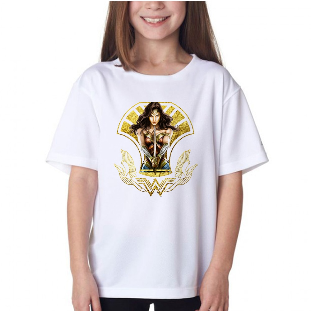 New Arrival Cool Style Comics Superhero Wonder Women T Shirts Printed Kids T-shirt Children Tops