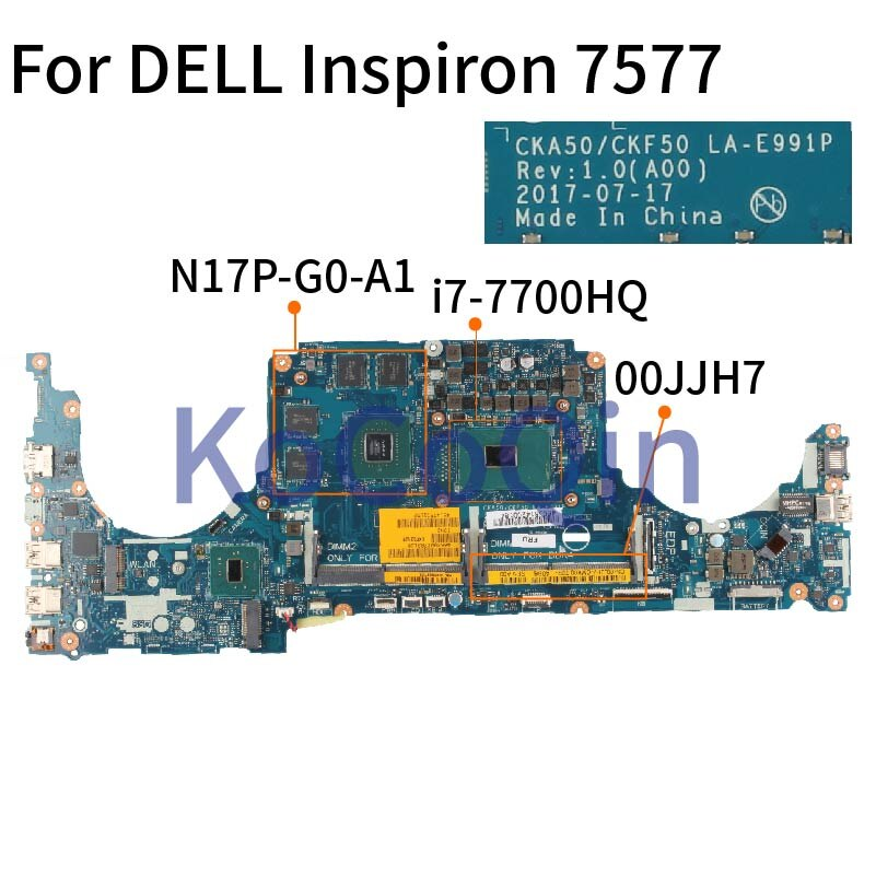 Placa-mãe para notebook, computador portátil, inspiron 7577 drive, sr32q I7-7700HQ 4