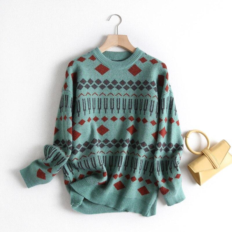 Otoño e Invierno nuevo suéter de mujer suelto viento perezoso cuello redondo tejido en forma de diamante superior inferior suéter mujer 2019new