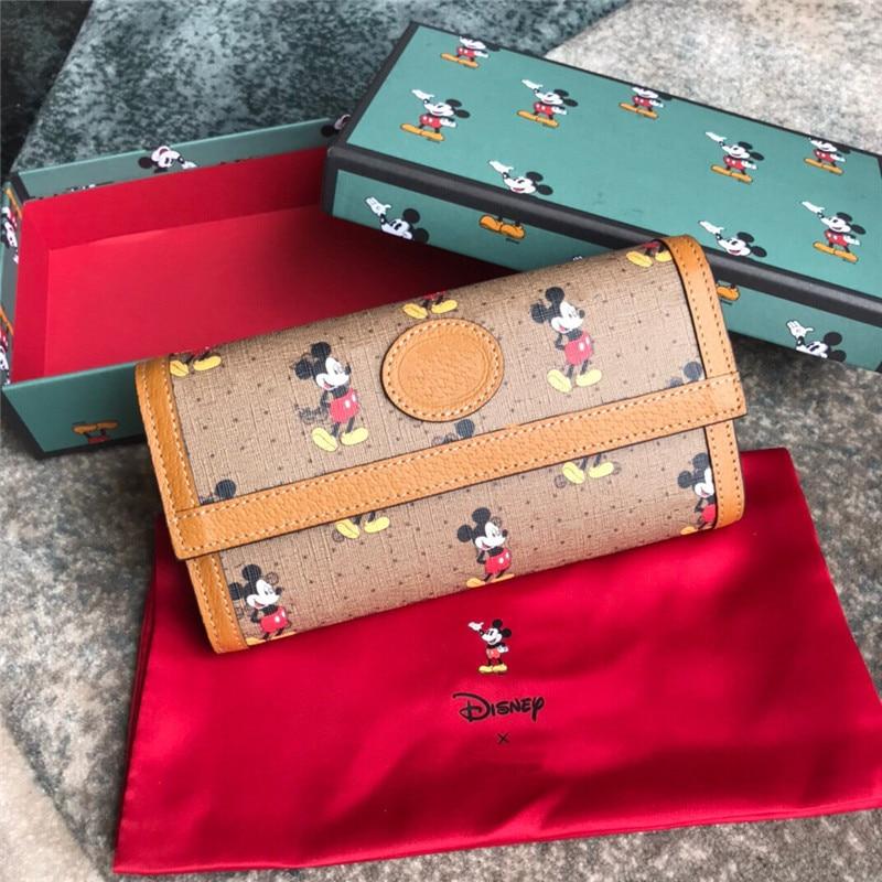 Disney Mickey Mouse nueva cartera Mickey Mouse embrague bolsa Cuero clásico monedero simple moda pequeña cartera