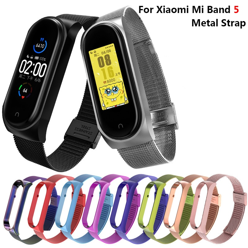 New For Xiaomi Mi Band 5 Strap Metal Wristbands Stainless Steel Bracelet For Mi Band 5 Strap Wearable Devices Smart Accessories