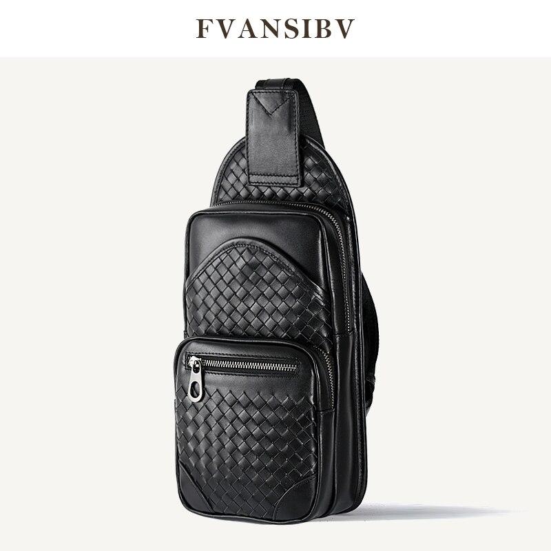 2021 Fashion Men's Chest Bag Multi-Functional Storage Shoulder Messenger Bag Luxury Brand Design Genuine Leather 100% Hand Woven