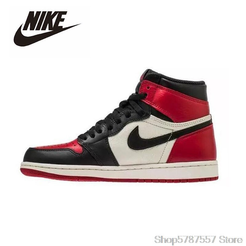 Zapatillas de baloncesto Nike Air Jordan 1 Retro con dedos altos GS, zapatillas de baloncesto para hombre, zapatillas de baloncesto Unisex para mujer, transpirables al aire libre 575541-610