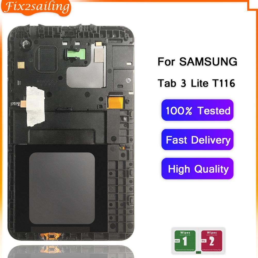 Para Samsung GALAXY Tab 3 Lite SM-T113 T116 pantalla LCD Digitalizador de pantalla táctil montaje de sensores Panel de recambio con marco