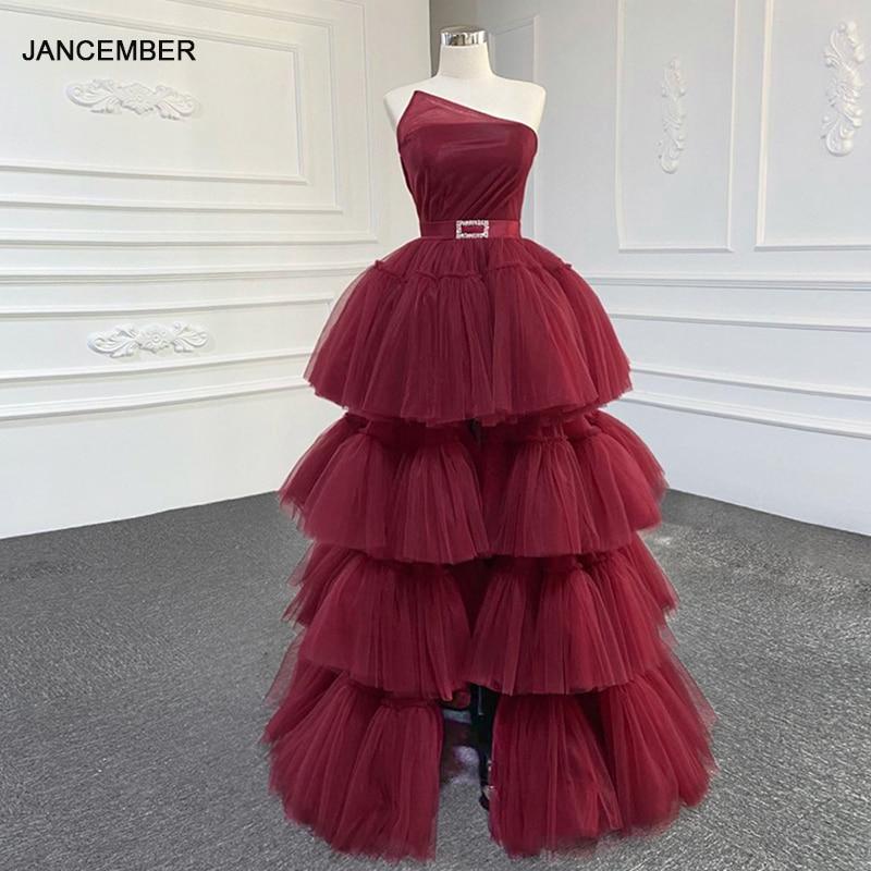 J67147 فستان حفلة موسيقية أحمر ، 2020 طبقات ، بلا أكمام ، أحزمة ، رسن ، فستان سهرة ، ملابس