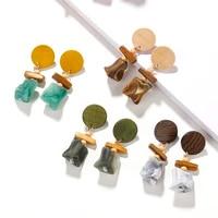 aensoa korean irregular wooden resin drop earrings for women fahison round wood geometric statement earrings bohemia jewelry gif