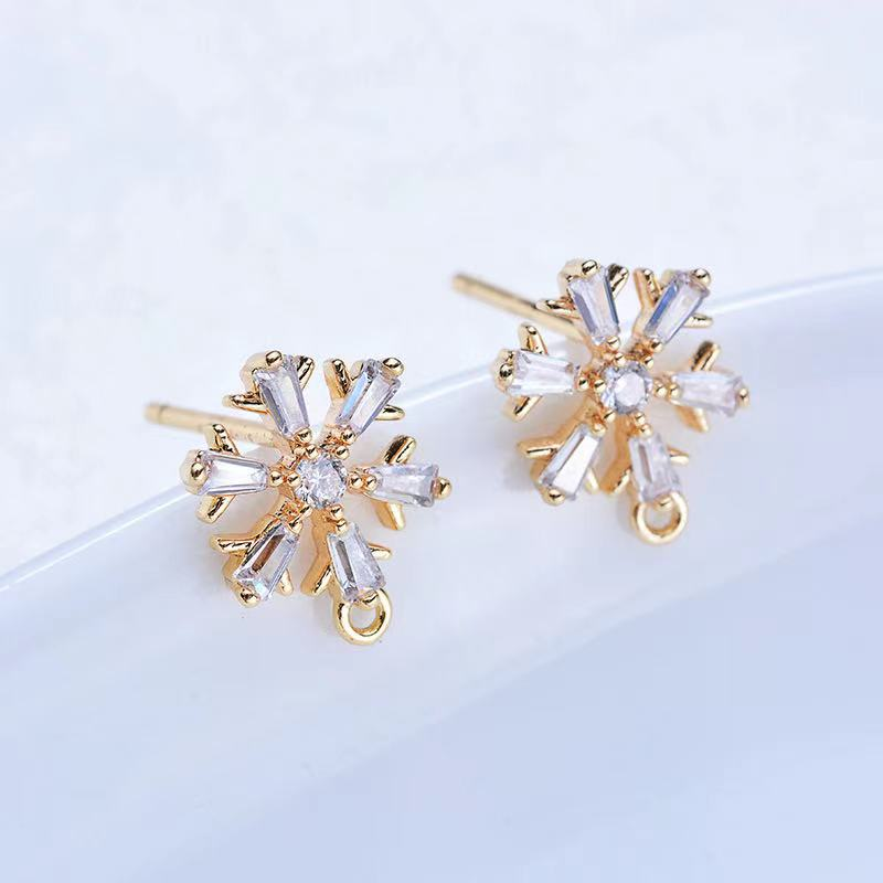 4pcs 11*10mm 24K Gold Color Plated Brass with Zircon Snowflake Earrings High Quality Diy Fashion Jewelry Findings Accessories недорого